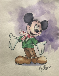 Mickey Mouse: Mickey Posing - Watercolor1