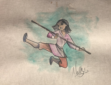 Mulan: Fighting - Watercolor