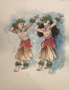 Moana: Dancing - Watercolor1