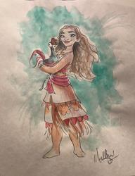 Moana: Holding Hei Hei - Watercolor2