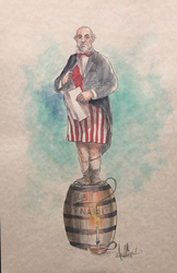 On a Barrel - Watercolor
