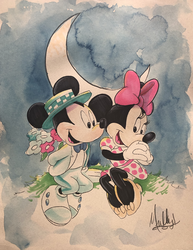Mickey Mouse: Mickey Surprising Minnie - Watercolor