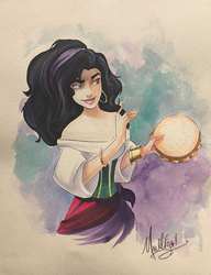 The Hunchback of Notre-Dame: Esmeralda - Watercolor