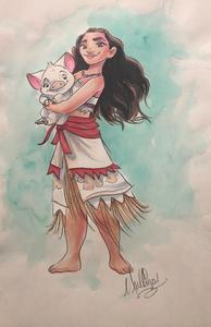 Moana: Holding Pua - Watercolor