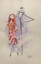The Nightmare Before Christmas: Jack and Sally Posing - Watercolor