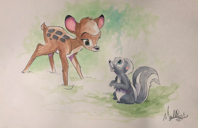 Bambi: Meeting Flower - Watercolor