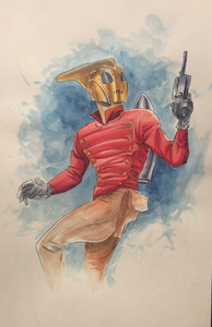 The Rocketeer: Holding Gun - Watercolor