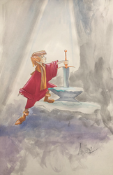 The Sword in the Store: Arthur - Watercolor