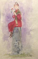 The Lady on the Tombstone - Watercolor