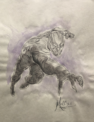Black Panther: Fighting - Watercolor
