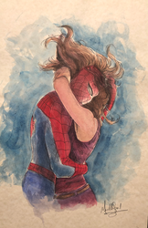 Spiderman: Hugging Mary Jane - Watercolor
